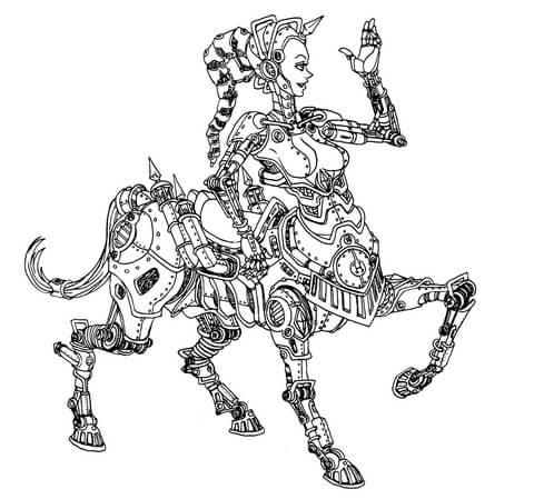 steampunk centaur robot coloring page free printable