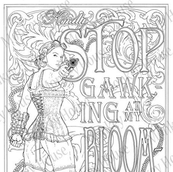 steampunk coloring page stop gawking downloadable victoriansci fi art image for adult coloring story inspiration