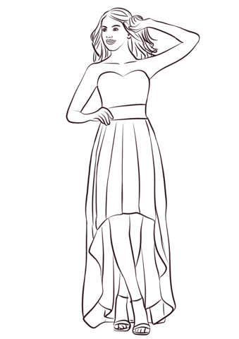 strapless high low prom dress coloring page free printable