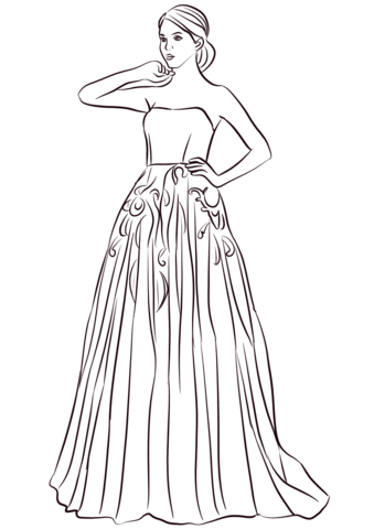strapless long prom dress coloring page free printable