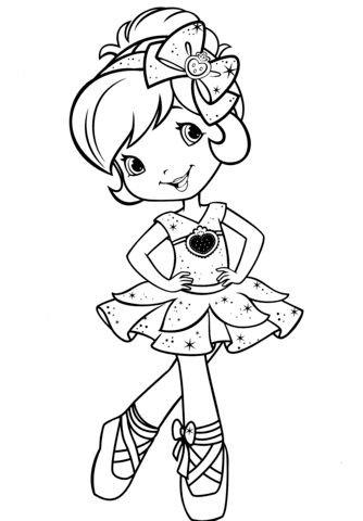 strawberry shortcake ballerina coloring page free