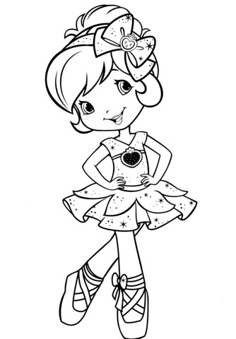strawberry shortcake ballerina coloring page pages