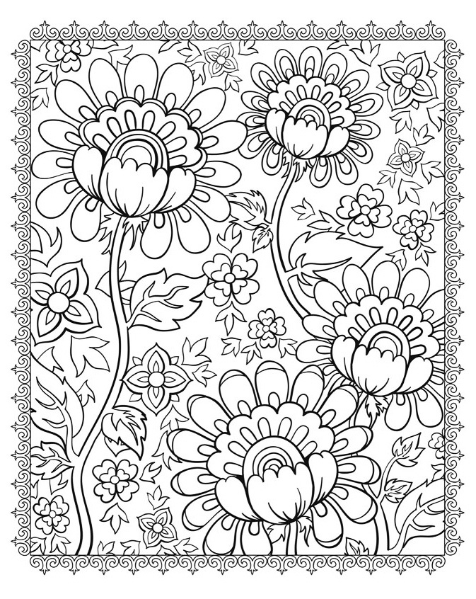 superb flowers flowers coloring pages for kids to print