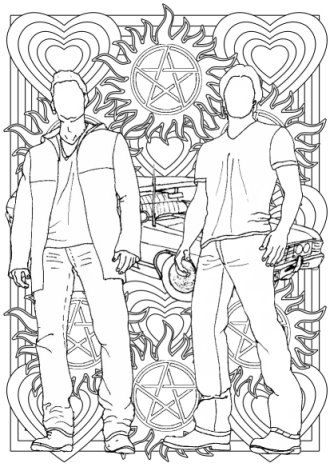 supernatural colouring for grown ups sam and dean