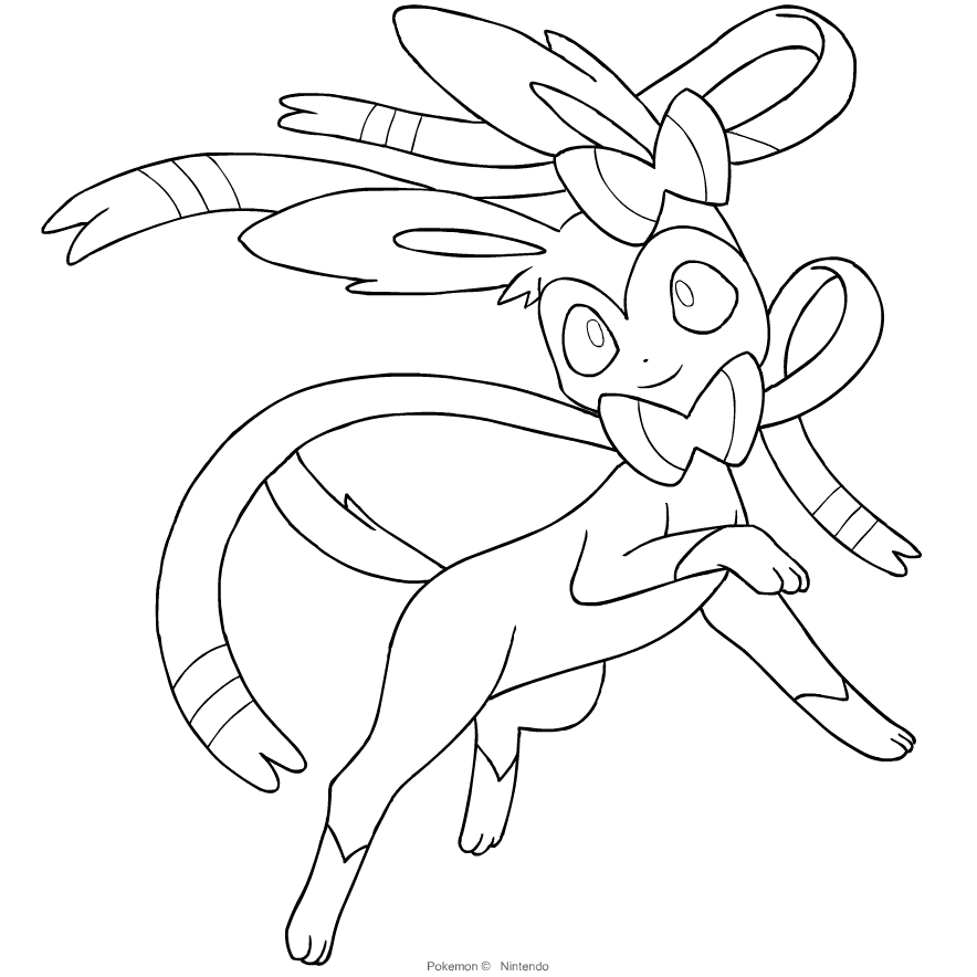 sylveon from the sixth generation of the pokmon coloring page