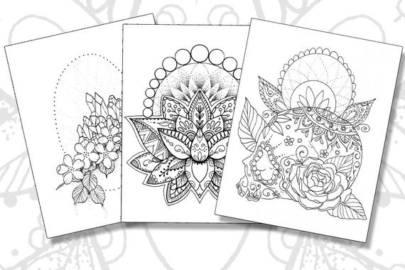 tattoo coloring pages set of 3 printable pdfs