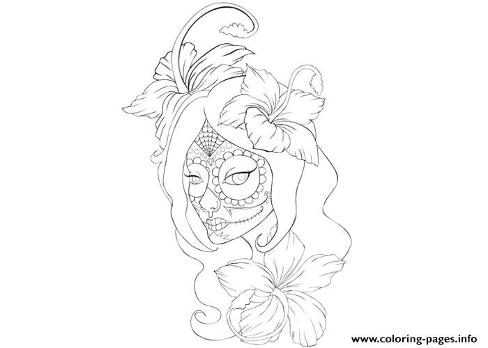 tattoo coloring pages to print girl skull page printable