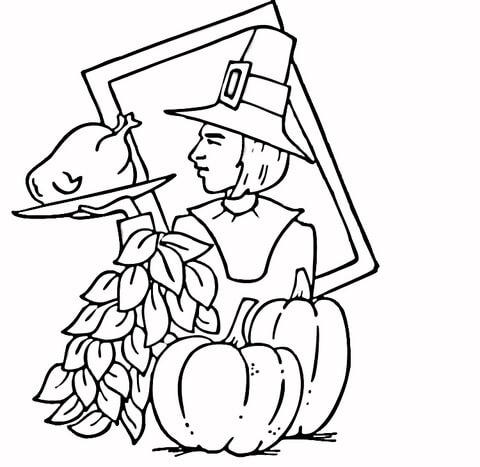 thanksgiving pilgrim coloring page free printable coloring