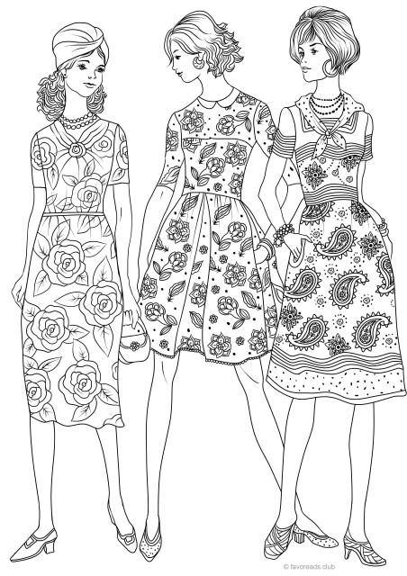 the 50s fashion printable adult coloring page from