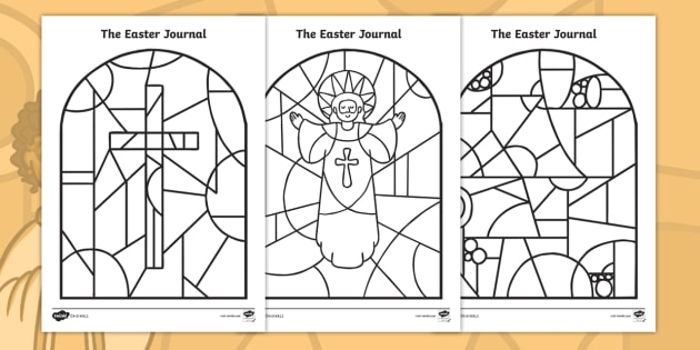 the easter journal stained glass window colouring pages