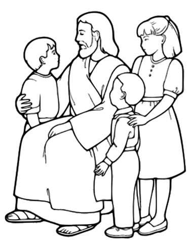 the little children and jesus coloring page free printable