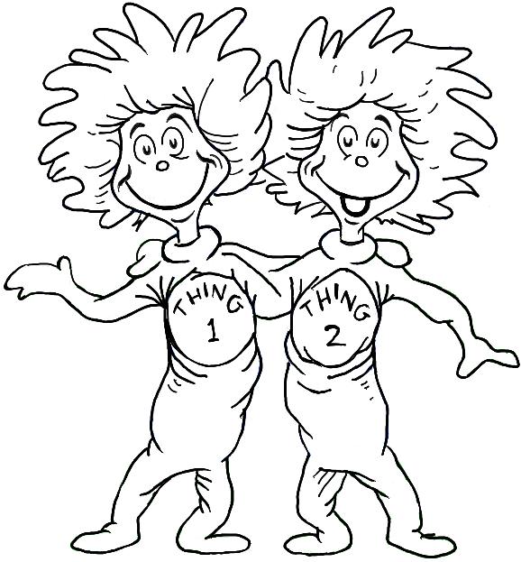 thing 1 and thing 2 coloring page dr seuss coloring pages