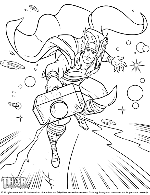 thor coloring page vpk arts and crafts superhero