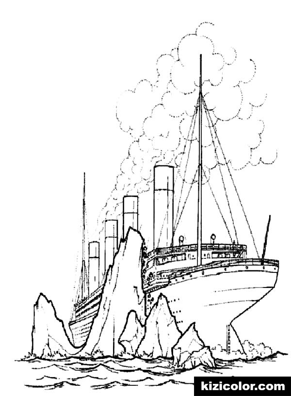 titanic crashing giant iceberg pages kizi free coloring