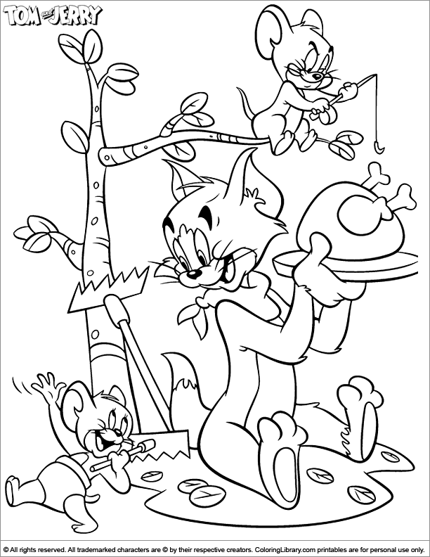 tom and jerry printable coloring page coloring library