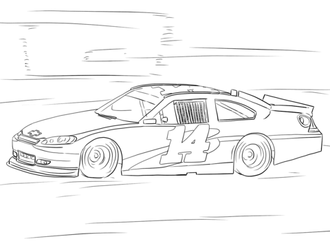 tony stewart nascar car coloring page free printable