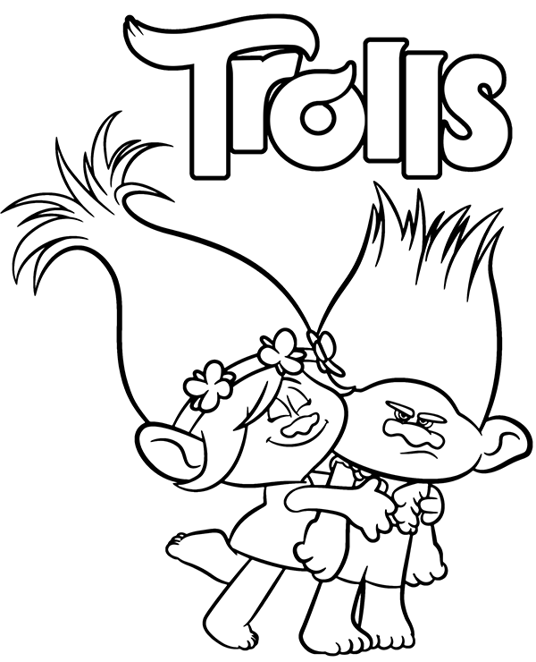 trolls branch and poppy coloring sheet page