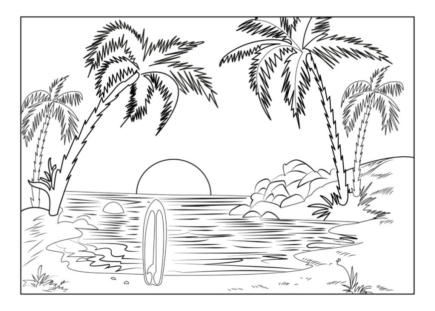 tropical sunset coloring pages free fun for kids