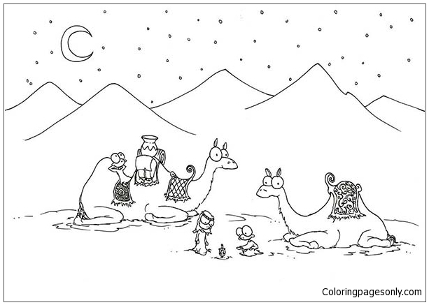 two camel in the desert coloring page free coloring pages