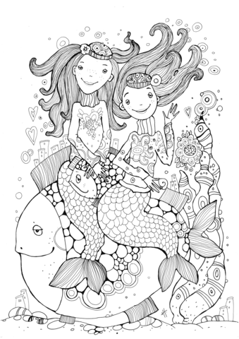 two mermaids free printable coloring pages