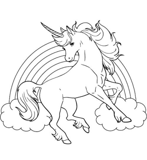 unicorn horse with rainbow coloring page unicorn coloring