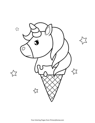 unicorn ice cream cone coloring page coloring page free