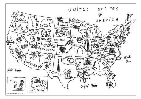 usa map colouring page 3rd grade social studies teaching