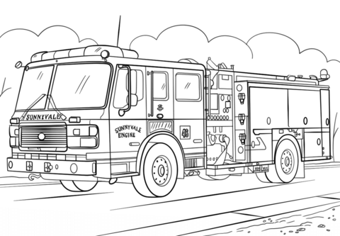 use fire truck coloring page as a medium to learn color