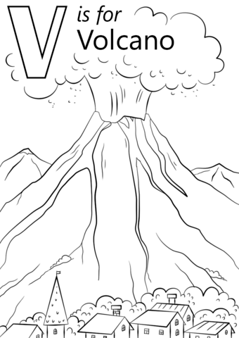 v is for volcano omalovnka free printable coloring pages