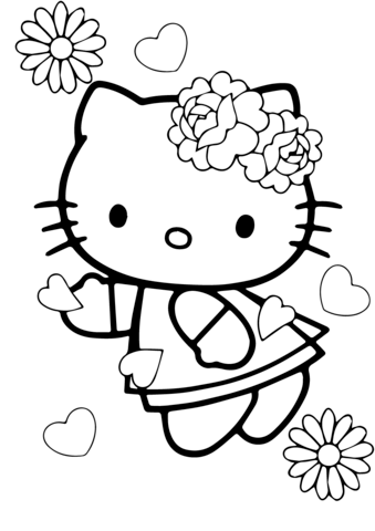 valentines day hello kitty coloring page free printable