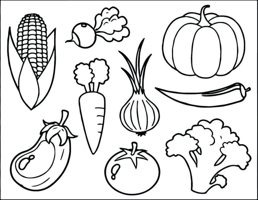 vegetables coloring pages for kindergarten