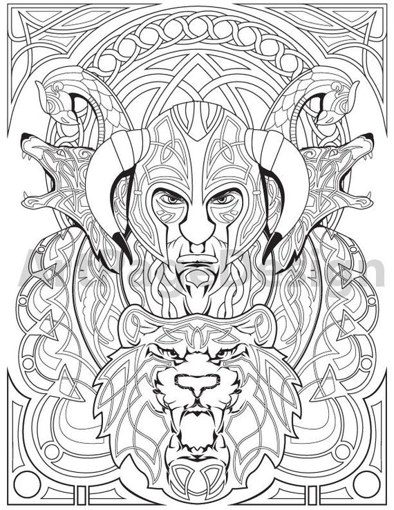 viking warrior celtic pattern coloring pages for adults coloring printable pdf jpg