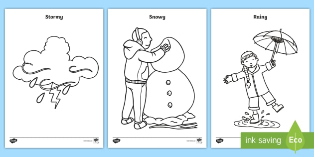 weather coloring pages sun rain rainbow snow seasons