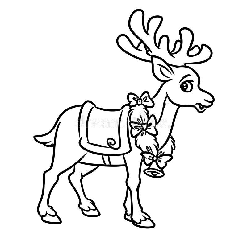 weihnachten santa reindeer coloring pages stock abbildung