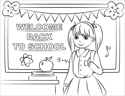welcome back to school coloring page free printable