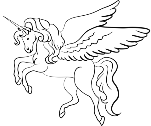 winged unicorn coloring page free printable coloring pages