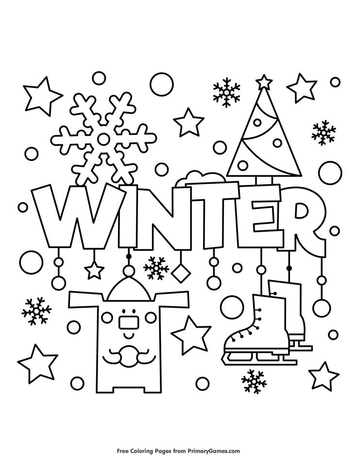 winter coloring page free printable ebook pginas para