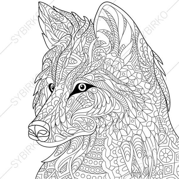 wolf coloring page animal coloring book pages for adults instant download print