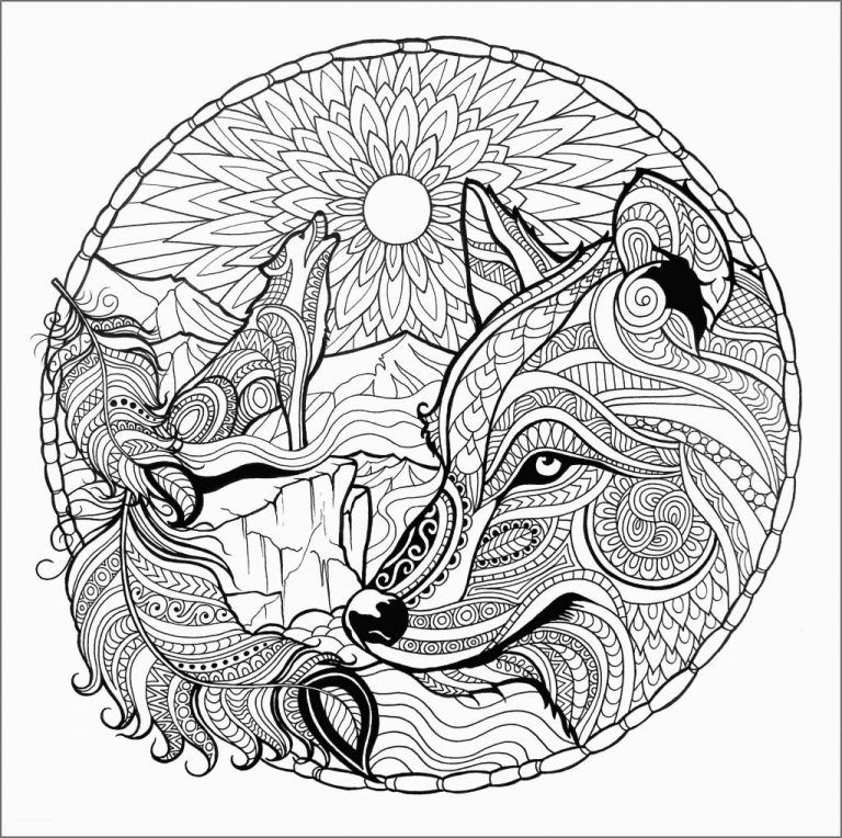 wolf coloring pages for adults fox coloring page mandala