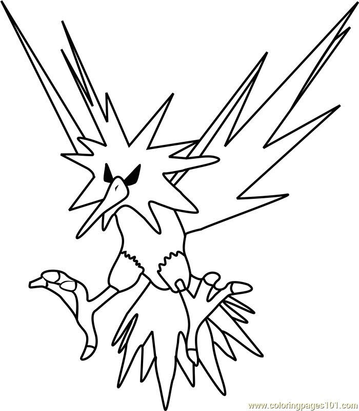 zapdos pokemon coloring pages printable free pokemon