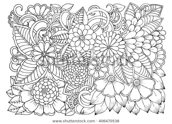 zentangle floral doodles black white coloring stock
