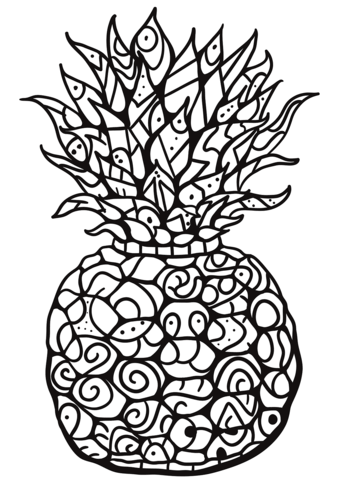zentangle pineapple coloring page free printable coloring