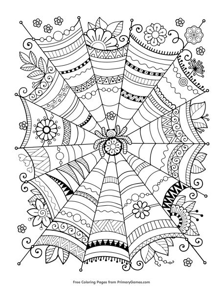 zentangle spider web coloring page free printable pdf from