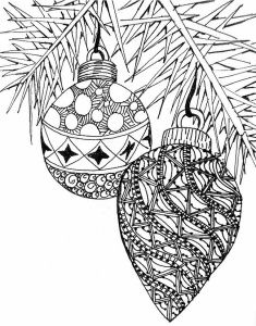 2 zentangle christmas ornaments free coloring page for
