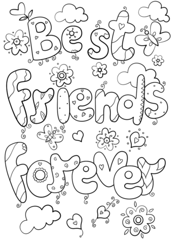 best friends forever coloring page from valentines day