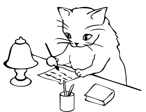 cat writing a letter coloring page free printable