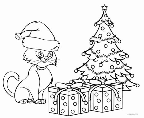 christmas cat coloring pages part 1