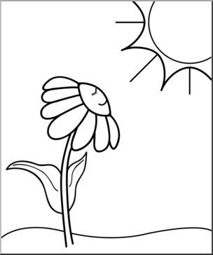 clip art daisy sunny day bw i abcteach abcteach