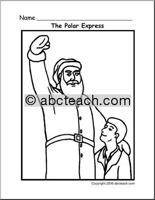 coloring page polar express santa abcteach