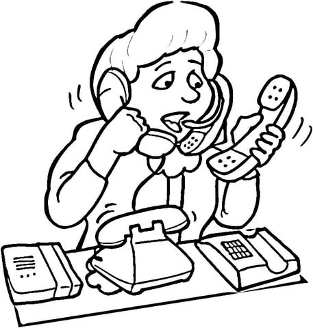 customer service operator coloring page free printable